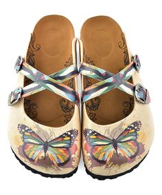 734df43e3e05  36.99 Tan Rainbow Butterfly Slip-On Mule Flip Flops