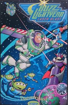 Buzz Lightyear, from Toy Story Disney Vintage, Retro Disney, Art Disney, Disney Kunst, Disney Movies, Disney Movie Posters, Vintage Disneyland, Pixar Movies, Sci Fi Movies