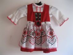 c296db2c0 Vintage Girls Austria Dirndl Dress By Isola Red-White-Green Christmas  Holiday Colors...Reshopgoods