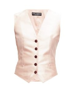 Dolce & Gabbana Darted Silk-blend Waistcoat In Light Pink Black Waistcoat, Trouser Suits, Cute Outfits, Trendy Outfits, Women Wear, Clothes For Women, Jackets, Fashion Design, Dart Manipulation