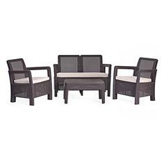 Conjunto ratan resina tarifa lounge set marron | Curver