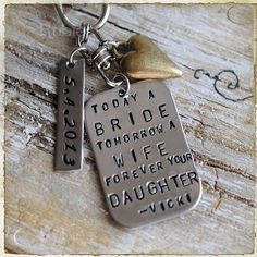 Personalized Wedding Gift For Father of The Bride, Mother of the Bride, Mom, Purse Charm, Keychain, Dad, Wedding Date by rubiesandwhimsy