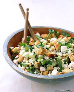 Fantastic easy recipe: Pita-Bread Salad with Cucumber, Mint, and Feta
