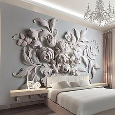 JAMMORY Embossed White Large Flower Decoratio 3D Fashion Wallpaper Personality Wallpaper Mural Wall Covering Canvas Material Golden ChurchXL XXL XXXL 5528409 2017 – $84.99
