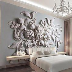 Konst+Dekor+3D+Bakgrund+För+hemmet+Klassisk+Tapetsering+,+Kanvas+Material+lim+behövs+Väggmålning+,+Tapet+–+SEK+Kr.+5,969