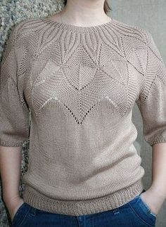 Knitted pullover with a round yoke - Knitting Sweater Knitting Patterns, Lace Knitting, Knitting Stitches, Knitting Designs, Knit Patterns, Knit Crochet, Vogue Knitting, Summer Knitting, Knitwear