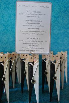 Set of 5 Wedding or Bridal Shower Table Number or Menu Holders. $30.00, via Etsy.