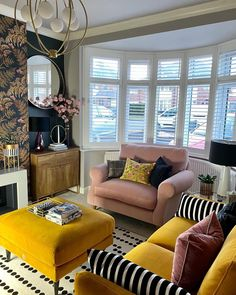 """House Beautiful UK on Instagram: """"Colourful and cosy, we love this living room from @cloud_nine_interiors! 😍 . . . . #designmyspace #regram #repost #velvetsofa #baywindow…"""" Living Area, Living Room Decor, Living Rooms, Style Deco, Velvet Sofa, Bay Window, Beautiful Homes, House Beautiful, Valance Curtains"""