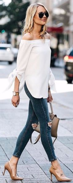 Off Shoulder Top & Ripped Jeans.