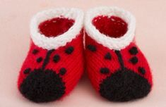 Make These Sweet Knit Lady Bug Booties