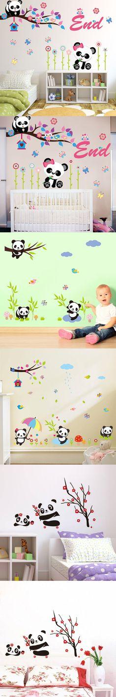 Cartoon Bamboo Panda Wall Stickers For Kids Room Bedroom Kindergarten home Decor cute home Decals Animals Mural Art Baby Gift $3.19