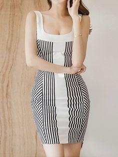 Stripes Print Korean Sexy Dress _Tank & Sleeveless_DRESSES_Wholesale clothing, Wholesale Clothes Online From China Sleeveless Dresses, Stripe Print, Tank Dress, Wholesale Clothing, Korean, Bodycon Dress, Stripes, China, Sexy