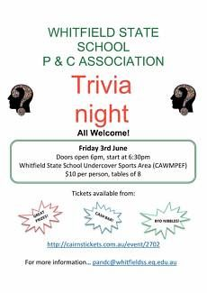Whitfield State School P&C Trivia Night Fundraiser, Whitfield, Cairns