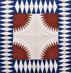 New York Beauty quilt from Kentucky, red, white and blue, collection of Bill Volckening | featured in American Quilter - July 2014