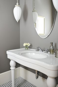 Tracey Ayton Photography - bathrooms - warm gray walls, parisian pedestal sink