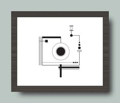 "Black and White Camera Geometric Print 8x10"", Camera Digital Print, Abstract Camera, Digital Print, Downloadable Print"