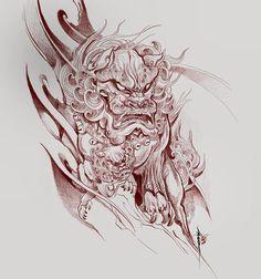 Bài viết trên Instagram của Zhiyongma. 志永刺青 • Th07 31, 2015 lúc 3:09pm UTC Foo Dog Tattoo Design, Japan Tattoo Design, Sketch Tattoo Design, Japanese Tattoo Designs, Japanese Tattoo Art, Japanese Sleeve Tattoos, Tattoo Sketches, Demon Tattoo, Raven Tattoo