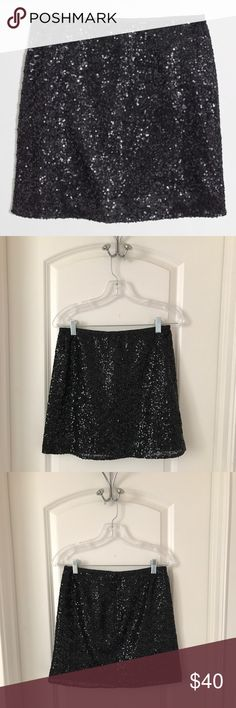 J. Crew Sequin Mini Skirt Size 2-Only worn once!! J. Crew black sequin mini skirt - only worn once and in great condition! Perfect for upcoming holiday parties 😊 Product Details: - Poly - Sits at waist - Back zip - Lined - Dry Clean J. Crew Skirts Mini