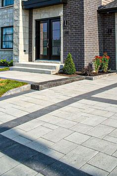 granite gray and black and fusion step, charcoal. Stone Driveway, Driveway Design, Driveway Landscaping, Driveway Pavers, Driveway Ideas, Backyard Pavers, Pavers Ideas, Paver Walkway, Landscaping Ideas