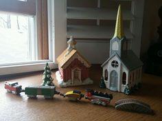 Vintage Ceramic Town Village Church Red School Train Bridge Tree Christmas