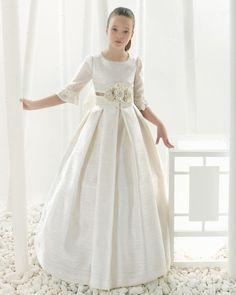 2016 first communion dresses for girls Satin Lace Empire Half Sleeve Flower Girl Dresses  for weddings girls pageant dresses