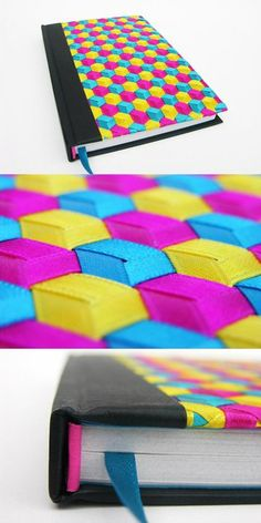 Gorgeous book covers made of woven ribbons. Book Crafts, Fun Crafts, Diy And Crafts, Arts And Crafts, Paper Crafts, Ideias Diy, Diy Notebook, Weaving Patterns, Handmade Books