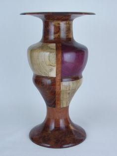 Exotic Wood Vase - ANickintheWood; Red Coolibah Burl, Purpleheart, Bubinga, Cocobolo, Ambrosia Maple