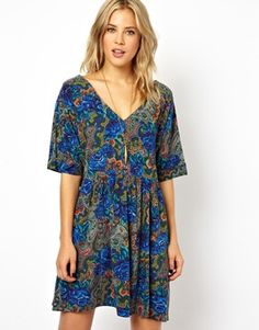 ASOS Smock Dress In Paisley And Floral Print