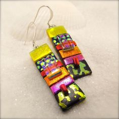 Modern Rainbow earrings Artistic jewelry by HanaSakuraDesigns
