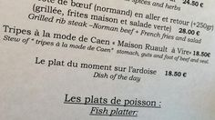 "Lost in translation: French menu offers ""stomach, guts and foot"""