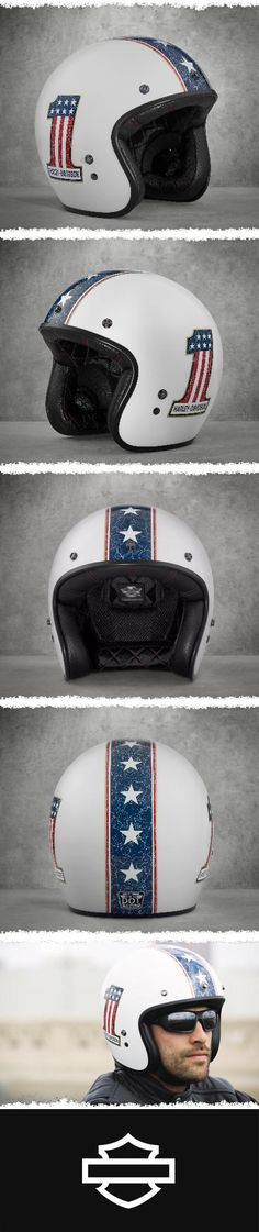 Go retro or go home. | Harley-Davidson Red White & Blue #1 3/4 Helmet Harley Davidson Breakout Custom, Harley Davidson Gear, Harley Davidson Motorcycles, Retro Helmet, Helmet Paint, Riding Gear, Open Face Motorcycle Helmets, Motorcycle Outfit, Modern Cafe Racer