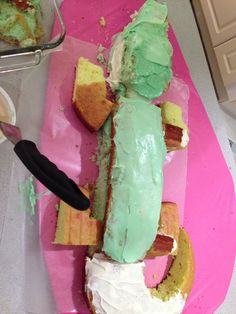 Crocodile cake forming!