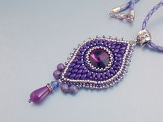 Bead embroidery, Pendant, Seed bead  necklace, Trending style,  Swarovski, Silver , Purple