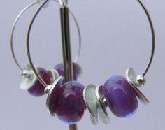 Sterling Silver Hoop Earrings Purple Organic by VirginRiverDesigns, $24.00