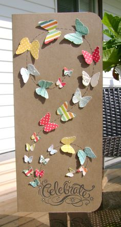 Very Cute Idea for Cards- could make it with anything not just butterflies, would look nice, with hearts for valentines Paper Cards, Diy Cards, Tarjetas Diy, Butterfly Cards, Card Making Inspiration, Card Tags, Creative Cards, Greeting Cards Handmade, Scrapbook Cards