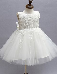 2017 Ball Gown Knee-length Flower Girl Dress - Lace / Organza Sleeveless Jewel with Bow(s) / Lace – GBP £ 118.90