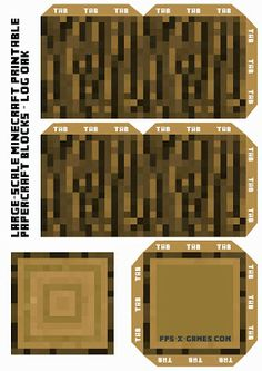 Large Scale Minecraft printable log oak. #minecraft #printable #papercraft
