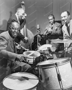 Louis Armstrong 1940s Lively Band Scene