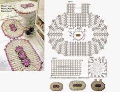 Patrones para tejer alfombras y tapa de inodoro al crochet, con detalle de flores en la parte central.