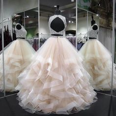 long prom dresses - Gergeous Crystal Beading Two Piece Tulle Prom Dress, Long Evening Dress Two Piece Quinceanera Dresses, Prom Dresses Two Piece, Cute Prom Dresses, Prom Outfits, Sweet 16 Dresses, Tulle Prom Dress, Ball Dresses, Ball Gowns, Bridesmaid Dresses