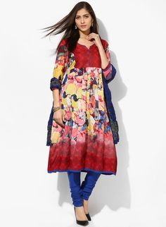 Buy Rain & Rainbow Red Printed Churidar Kameez Dupatta online in India at best price.You will surely become a showstopper at the upcoming family function when you wear this suit set by Rain Designer Punjabi Suits, Churidar, Ethnic Fashion, Long Tops, Salwar Suits, Rainbow, Printed, Red, How To Wear