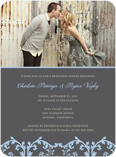 Wedding Rehearsal Dinner Invitation with picture of the couple