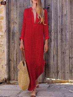 Women Gypsy Dresses Robe Long Sleeve V-Neck Ethnic Boho Cotton Linen Summer Beach Long Maxi Dress Size S Color Lblue Summer Dresses For Women, Trendy Dresses, Casual Dresses, Dresses Dresses, Long Dresses, Summer Maxi Dresses, Casual Outfits, Gypsy Dresses, Long Skirts