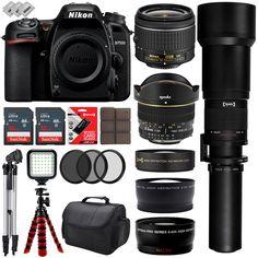 Nikon D7500 HD Digital SLR Camera w/ 6 Lens  6.5 to 2600mm  32GB  30PC Bundle