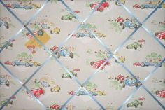 Large Cath Kidston Racing Car Hand Crafted Fabric Notice / Pin / Memo Board