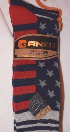 AND1 American Flag Crew Socks Basketball Sock Set of 3 pairs 10-13 Large #And1 #Casual