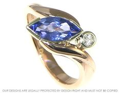 9ct rose and white gold ring with a large 1.03ct tanzanite and 0.06ct diamond. ~ Harriet Kelsall Jewellery Design