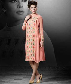 Shop Peach Georgette Readymade Kurti 71805 online at best price from vast collection of designer kurti at Indianclothstore.com.