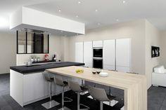 Y acabamos la semana con una de las últimas tendencias en cocinas: cocinas integradas en el salón. Espacios abiertos y si además le sumamos el blanco de los muebles ganamos más luminosidad