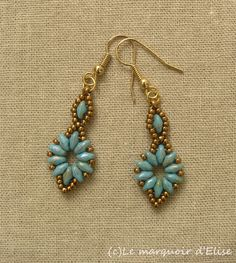 Superduo Flower chain earrings (after Linda's crafty inspiration)